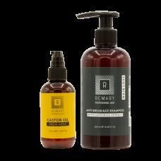Set anticădere pentru păr cu extract din ulei de ricin - Hair Loss - Remary - 2 produse